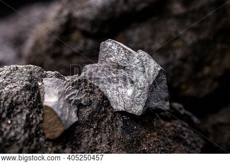Hematite On A Rocky Base. Brazilian Magnetic Metal, Largest Producer Of Hematite, Export Of Metallic