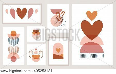 Bohemian, Boho Valentines Day Illustrations, Hand Drawn Artwork In Terracotta, Earthy Colours, Heart