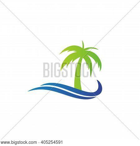 Palm Beach Logo Design, Palm Tree In The Beach Logo Design Inspiration