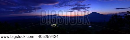 Panorama View Of Sunrise At High Mountain In Morning