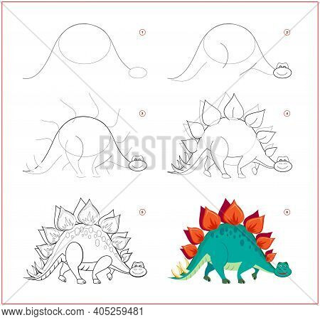 How To Draw Cute Toy Stegosaurus. Educational Page For Children. Creation Step By Step Prehistoric A