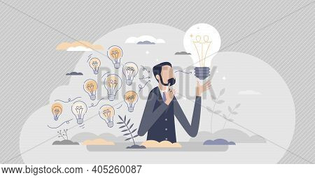 Gather Ideas Ad Choose Best From Many After Brainstorm Tiny Person Concept