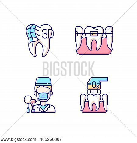 Dentistry Practice Rgb Color Icons Set. Orthodontics Care Methods. Professional Stomatology Occupati
