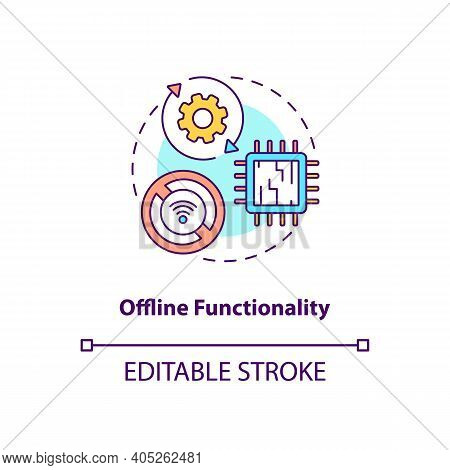 Offline Functionality Concept Icon. Saas Argument Idea Thin Line Illustration. Without Dependency On