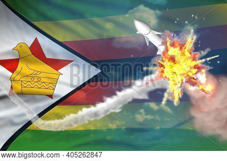 Zimbabwe Intercepted Nuclear Missile, Modern Antirocket Destroys Enemy Missile Concept, Military Ind