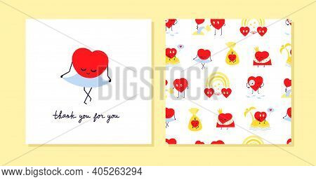 Set Of Greeting Card Templates For Romantic Design. Thank You. I Love You. Love And Gratitude. Red S