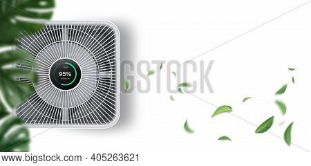 Air Purifier On White Background With Filter For Cleaner Removing Fine Dust Pm2.5