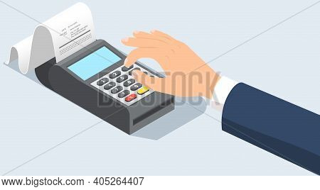 Human Hand Presses Buttons On The Payment Terminal With Check For Retail Sale Service. Bank Machine