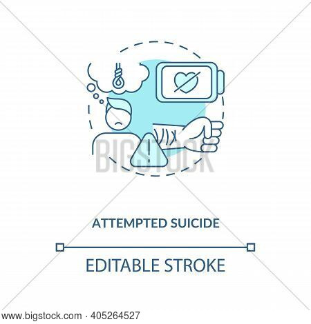 Attempted Suicide Turquoise Concept Icon. Psychological Trauma. Self Inflicted Harm. Mental Health I