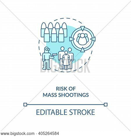 Risk Of Mass Shooting Turquoise Concept Icon. Terrorist With Firearm. Life Threat. Public Assault. G