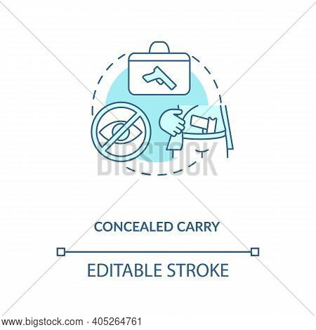 Concealed Carry Turquoise Concept Icon. Hidden Firearm. Pistol For Defense. Weapon Ownership. Gun Co