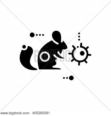 Carrier Animal Glyph Icon. Disease Spreading Concept. Covid19, Virus Disease Mutation And Transmissi