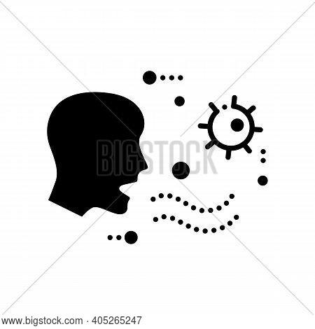 Airborne Spread Glyph Icon. Disease Spreading Concept. Covid19, Virus Disease, Influenza Or Flu Tran