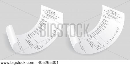 Payment Check Isometric 3d. Buying Financial Invoice Bill Purchasing Calculate Pay Vector Isolated.