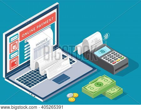 Online Digital Invoice Laptop Or Mobile Smartphone With Bills Credit Card Money Coins Flat Illustrat