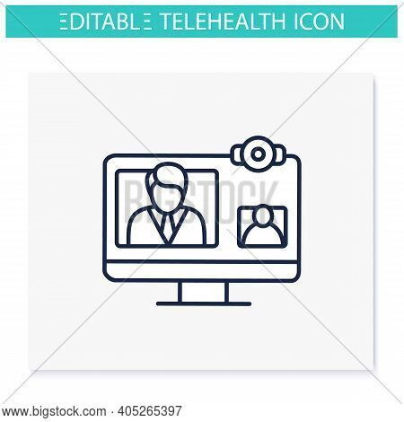 Video Telephony Line Icon. Video Conference Call With Doctor. Telehealth Medical Care. Virtual Medic
