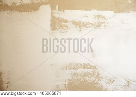 Construction Unfinished Cement And Plaster Wall Background With Copy Space