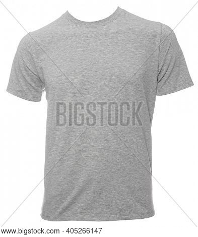 Grey heathered shortsleeve cotton T-Shirt template isolated on a white background