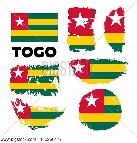 Independence Day Of Togo Country. Abstract Flag In Shape