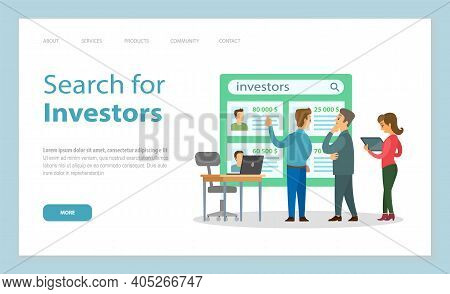 Landing Page Of Website. Search For Investors. People Searching Investors For Project Or Startup. Me