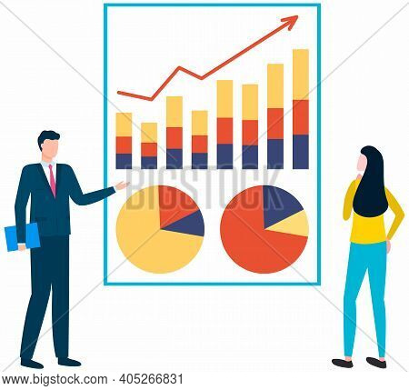 Financial Analyst Team. Professional Business People Analyzing Business Growth By Statistical Dashbo