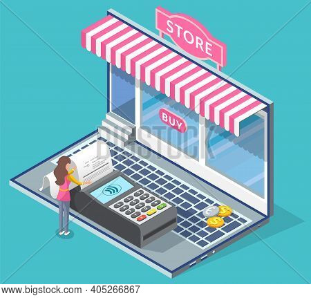 Online Shopping Concept. Young Woman Standing At The Pos Terminal, Shopping By Laptop Vector Illustr