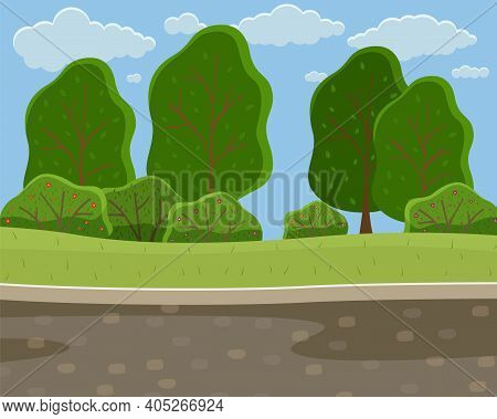 Spring Or Summer Season Cartoon Country Landscape With Green Field, High Trees, Road, Cloudy Sky. Lo