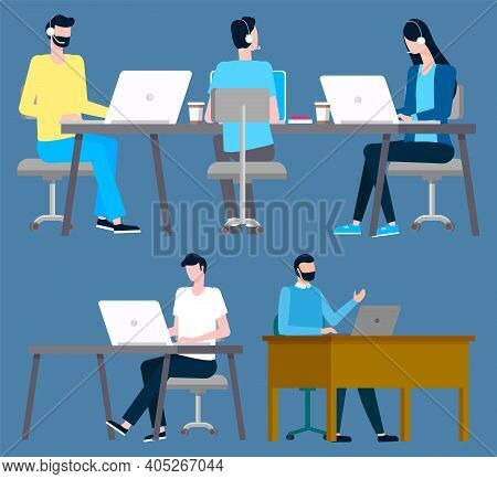 Workers Dealing With Tasks On Laptops Vector, Isolated People With Computers Sitting By Desks With G