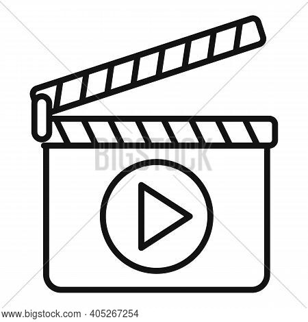 Entertainment Clapper Icon. Outline Entertainment Clapper Vector Icon For Web Design Isolated On Whi