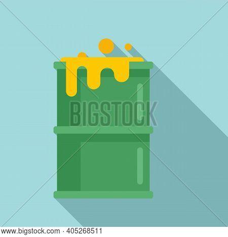 Biohazard Barrel Icon. Flat Illustration Of Biohazard Barrel Vector Icon For Web Design