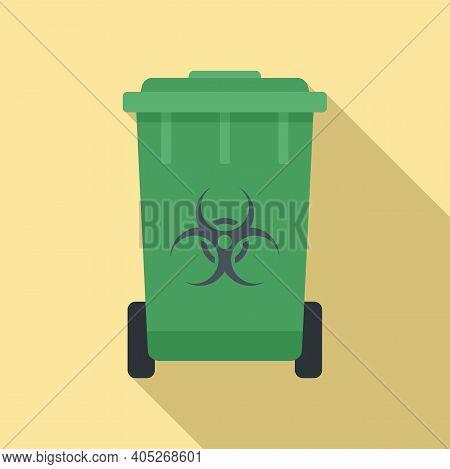 Biohazard Garbage Cart Icon. Flat Illustration Of Biohazard Garbage Cart Vector Icon For Web Design