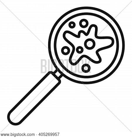 Magnifier Bactery Icon. Outline Magnifier Bactery Vector Icon For Web Design Isolated On White Backg