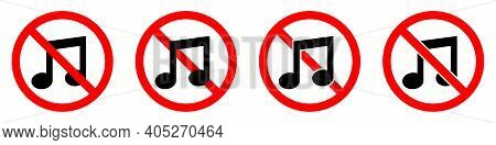Sound Ban Icon. Music Is Prohibited. Stop Or Ban Red Round Sign With Music Note Icon. Vector Illustr