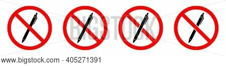 Pencil Ban Icon. Pencil Is Prohibited. Stop Or Ban Red Round Sign With Pencil Icon. Vector Illustrat