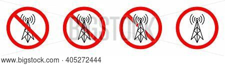 No Signal. Antenna Ban Icons Set. Wifi Signal Is Prohibited. Stop Or Ban Red Round Sign With Radio S