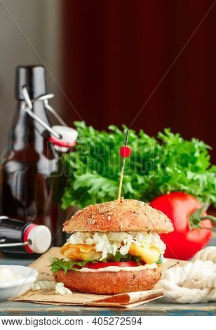 Fish Burger. Delicious Burgers With Fried White Fish (cod, Pollock, Perch, Hake), Tomatoes, Lettuce,