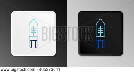Line Light Emitting Diode Icon Isolated On Grey Background. Semiconductor Diode Electrical Component