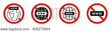 Internet Connection Ban Icon. Internet Is Prohibited. Stop Or Ban Red Round Sign With Internet Conne
