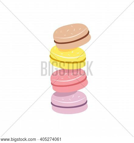 Stack Of Colorful Macaron, Macaroon Almond Cakes, Sketch Style Vector Illustration Isolated On White