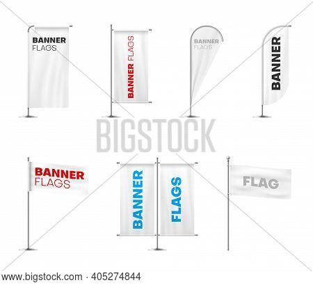Banners Flags On Poles Variety Realistic Mockups Set. Advertising, Branding Design Templates.