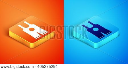 Isometric Wrestling Singlet Icon Isolated On Orange And Blue Background. Wrestling Tricot. Vector
