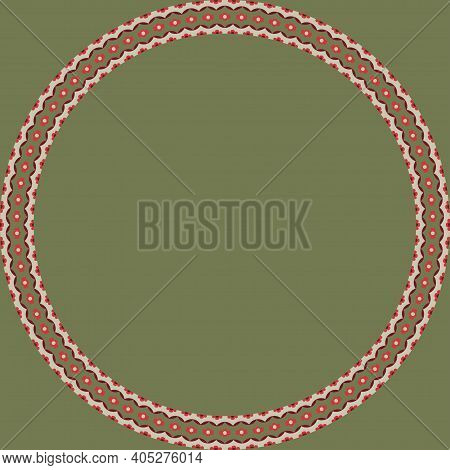 Persian Traditional Ornament. Round Frame With Floral Ornament. Ancient Traditions. Vector.