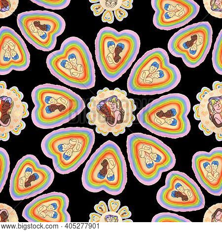 Seamless Pattern With Lgbt And Heterosexual Couples. Love Is Love. Trend Pattern. Pride Concept. Lgb