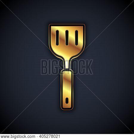 Gold Spatula Icon Isolated On Black Background. Kitchen Spatula Icon. Bbq Spatula Sign. Barbecue And