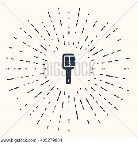 Grey Sauna Brush Icon Isolated On Beige Background. Wooden Brush With Coarse Bristles For Washing In