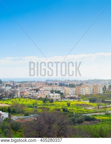 Skyline Of Paphos In The Bright Sunny Day, Cyprus