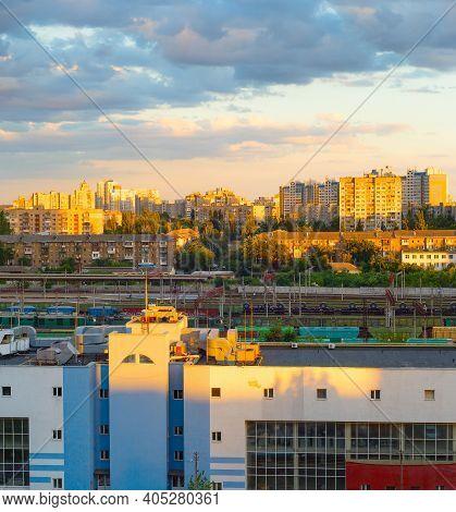 Skyline Of Kyiv Living Districts At Sunset. Ukraine