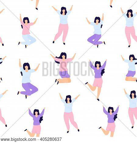 International Womens Day Seamless Pattern. Sisterhood. Group Of Young Joyful Girls Jumping With Rais