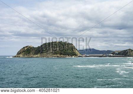 Cantabrian Sea Island Of San Anton, Village Of Getaria, Basque Coast Of Gipuzkoa In Spain