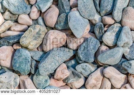 Mix Color Of Gravel Texture Or Background. Gravel Texture. Pebble Stone Background. Light Grey Close